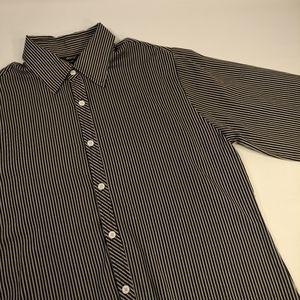 EFDI Men's XXL Black Pinstripe Dress Shirt
